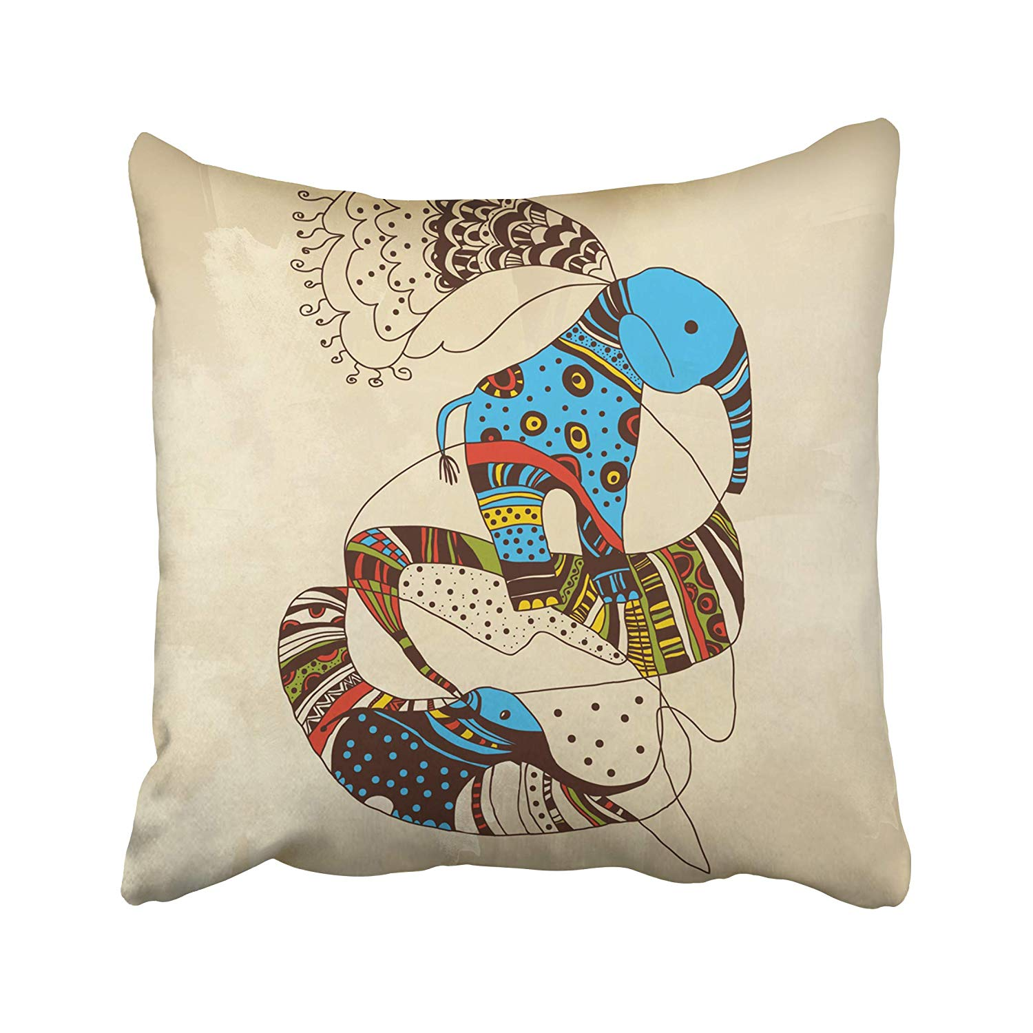 USART Beige Sweet Dreams Come True Blue Cartoon Elephant Kids Pastel Sketch Vintage Pillow Case Pillow Cover 18x18 inch Throw Pillow Covers