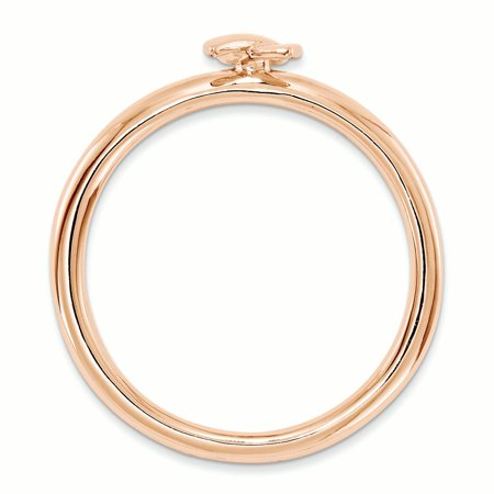 925 Sterling Silver Rose Gold Awareness Ribbon Band Ring Size 5.00 Stackable Fine Jewelry Gifts For Women For Her - image 1 of 7