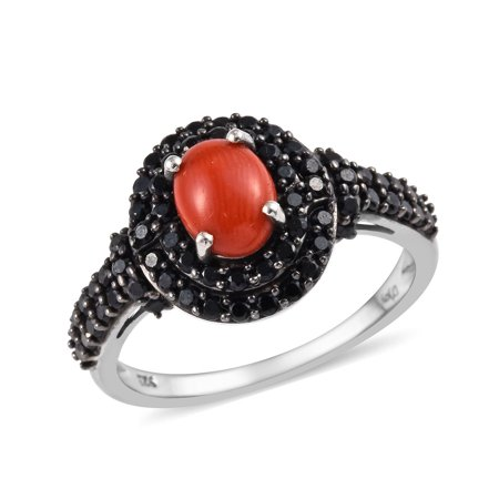 Promise Ring Coral 925 Sterling Silver Platinum Plated Oval Black Spinel Jewelry for Women