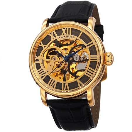 Gold Tone Mechanical Skeleton (Men's Mechanical Skeleton Round Leather Gold-Tone Strap Watch )