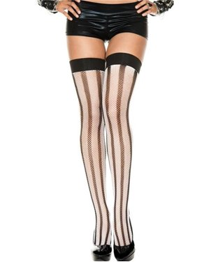 983c0278b Product Image Music Legs 4946-WHITE-BLACK Contrast Striped Spandex Fishnet Thigh  High Stockings