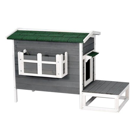 (Outdoor Wood Cat House Pet Home Cat Shelter Condo Gray & White Color with Stair)