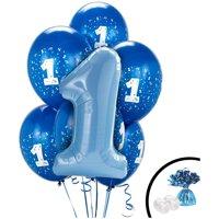 Blue 1st Birthday Balloon Bouquet