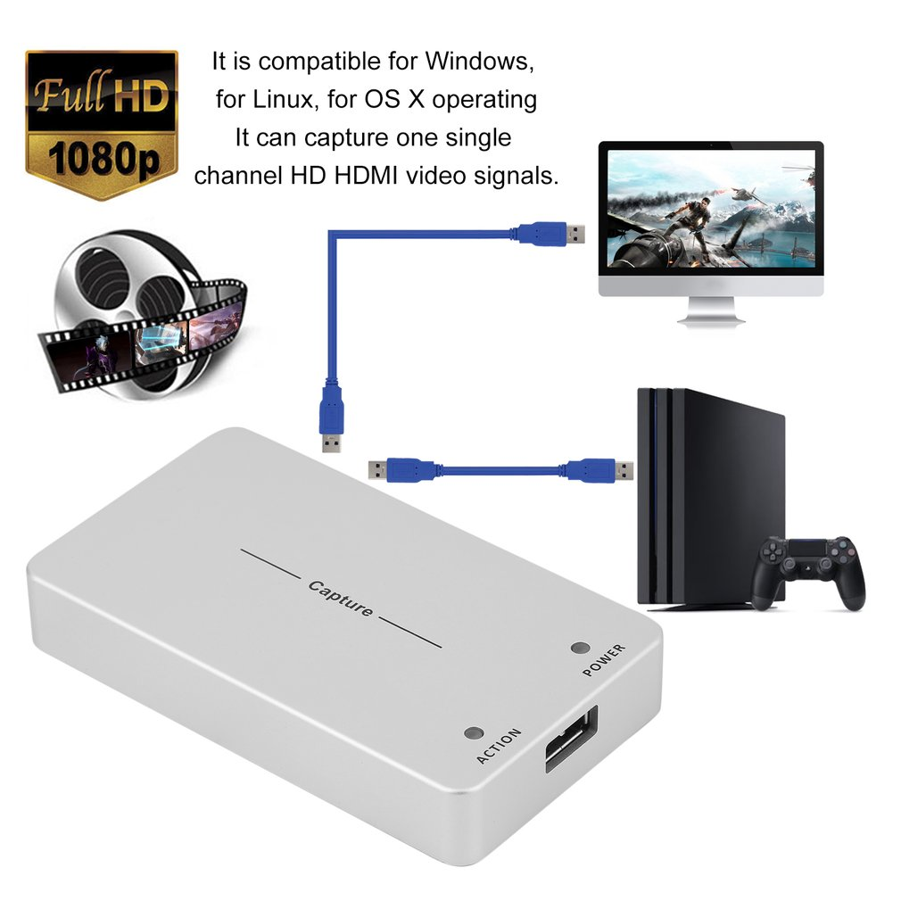 HDMI To USB 3.0 Video Capture Box Superior Video Capture Dongle Game Recorder For Windows For Linux For Os System US Plug