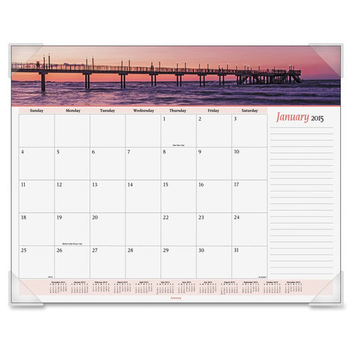 AT-A-GLANCE                                        Panoramic Seascape Monthly Desk Pad Calendar, 22 x 17