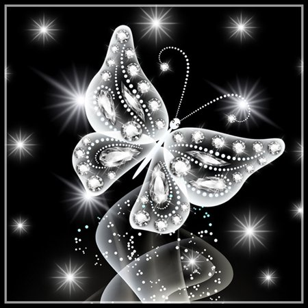 Butterfly Stitch - Black White Butterfly Rhinestone Painting Diamond Cross-stitch Needlework 5D Embroidery Picture Drawing Needlework Stitchwork