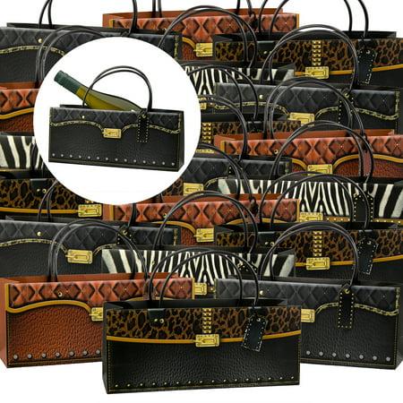 24pk handbag style wine bottle gift bags bulk set with handles women