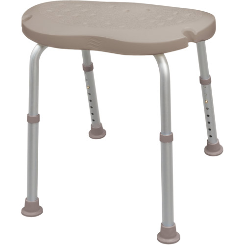 AquaSense Adjustable Bath and Shower Chair with Non-Slip Comfort Seat, Pebble Taupe