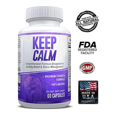 Keep Calm - Anxiety Relief Supplement - Comprehensive Formula for Anxiety Relief & Stress Management - 60 Capsules - Made in USA - Money Back Guarantee.