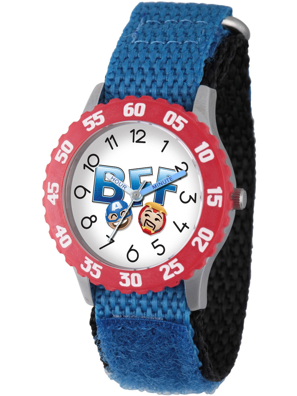 Emoji Kids' Iron Man and Captain America Stainless Steel Time Teacher Watch, Red Bezel, Blue Hook and Loop Nylon Strap with Black Backing
