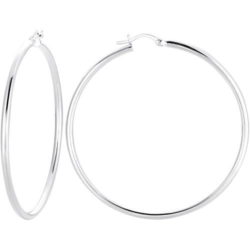 """Sterling Silver 2 3/8"""" Hoop Earrings"""