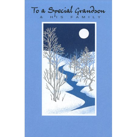 Freedom Greetings Silver Trees & Stream: Grandson Christmas Card Tree Response Card