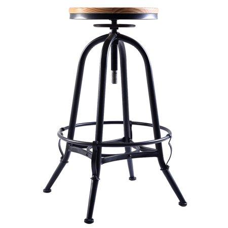 GHP 300Lbs Capacity Wood Top Metal Frame Height Adjustable Swivel Vintage Bar