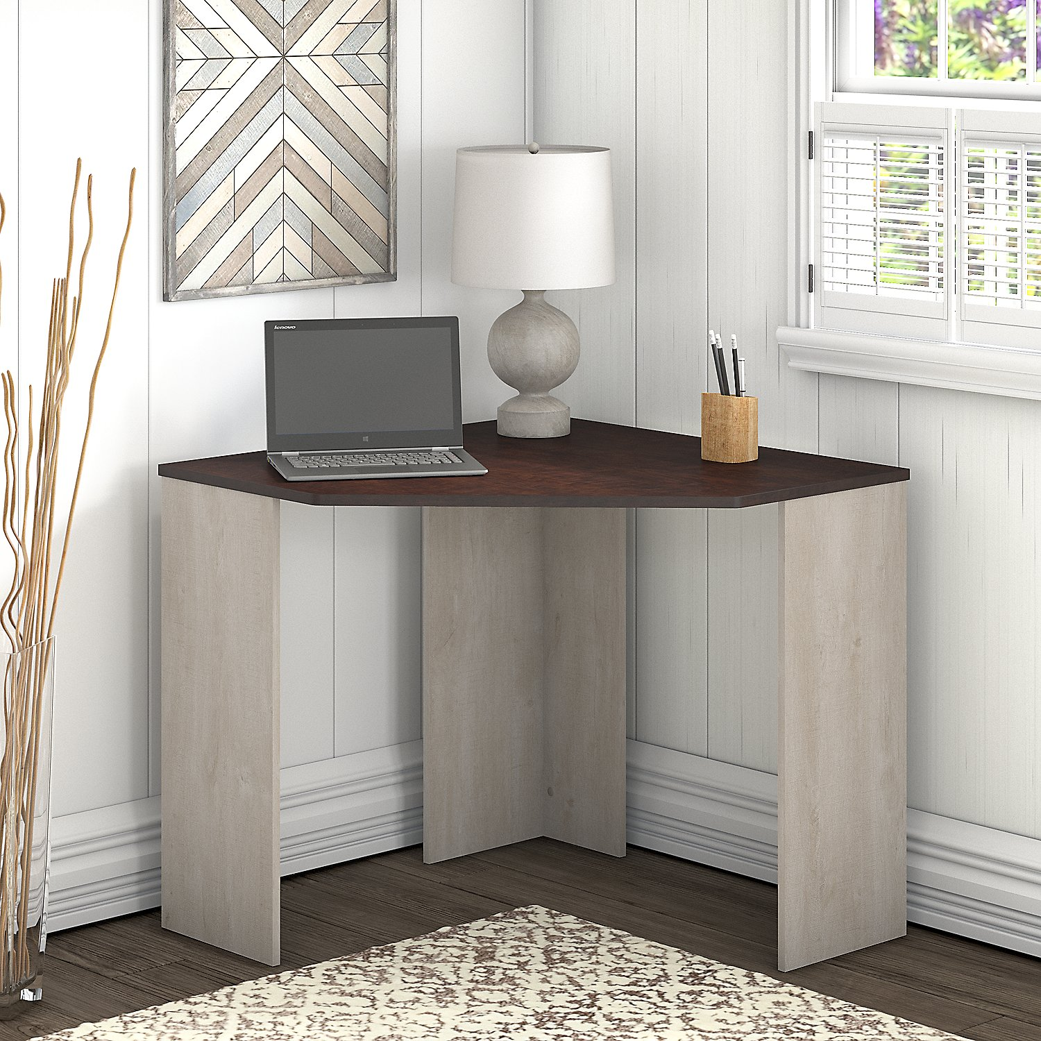 Beau Bush Furniture Townhill Corner Desk In Washed Gray And Madison Cherry