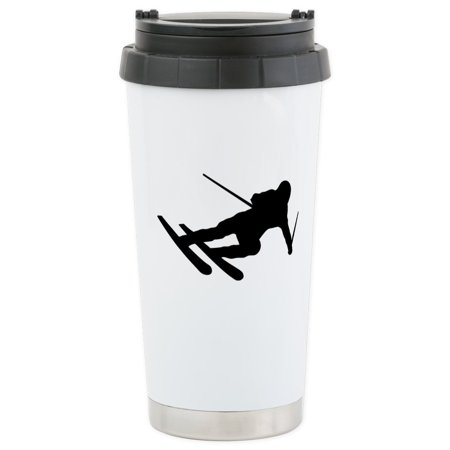 CafePress - Black Downhill Ski Skiing Stainless Steel Travel M - Stainless Steel Travel Mug, Insulated 16 oz. Coffee