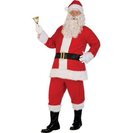 Adult XL Deluxe Flannel Santa Suit Costume