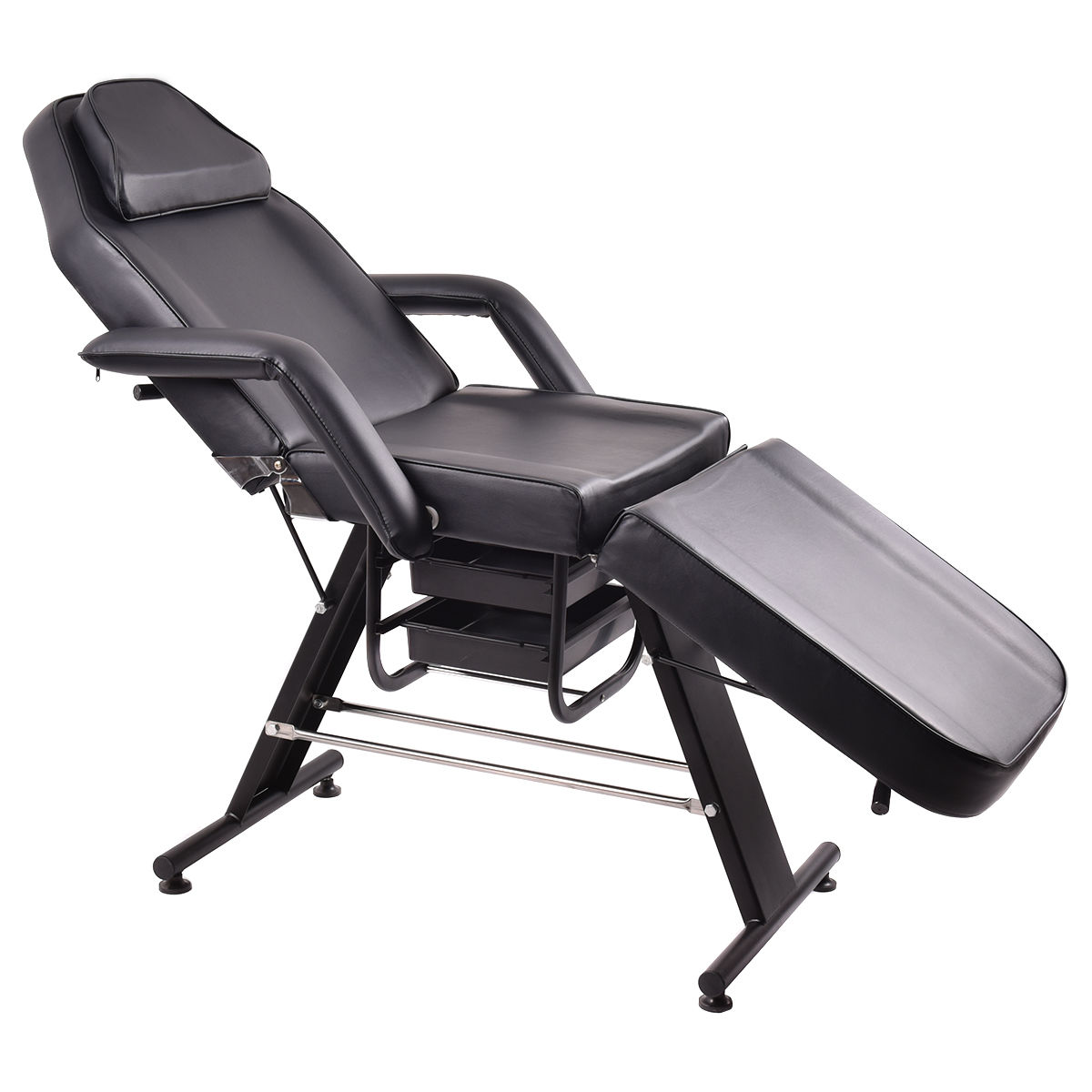 Costway Adjustable Salon SPA Black Massage Bed Tattoo Chair Facial Table  Beauty Basket