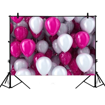 GCKG 7x5ft Happy Birthday Colorful Balloons Ribbon Wedding Party Decoration Baby Kids Princess Lover Polyester Photography Backdrop Photography Props Studio Photo Booth Props - image 4 de 4