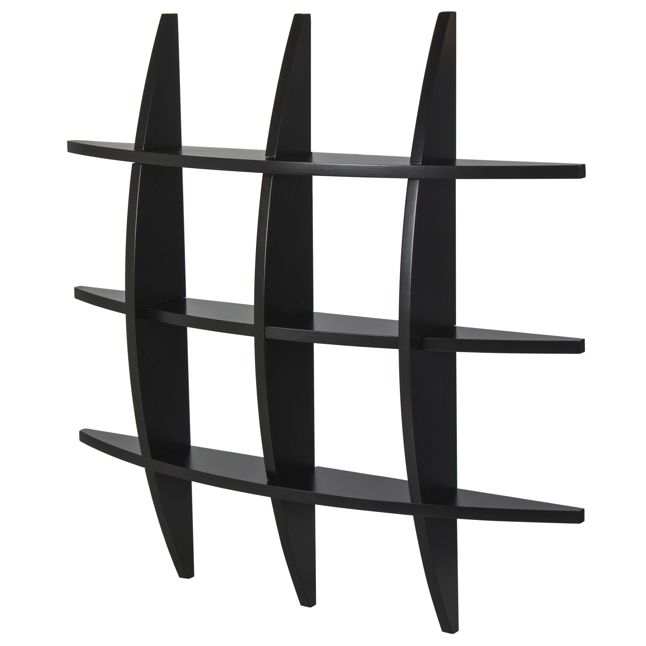 bcp cross wood wall shelf black finish home decor furniture walmartcom - Home Decor Furniture