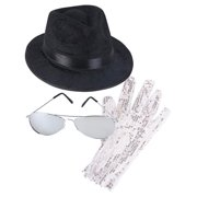 MJ King Of Pop Costume Bundle With Fedora Hat Glove And Sunglasses