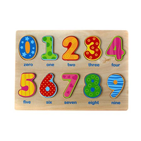 Classic Numbers Puzzle for Toddlers, Wooden Knob Puzzle for Kids 2 Years Old & Up, Educational
