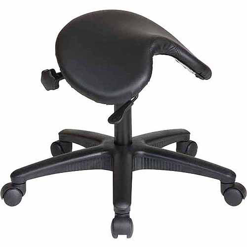Office Star Work Smart Backless Saddle Seat Office Chair, White