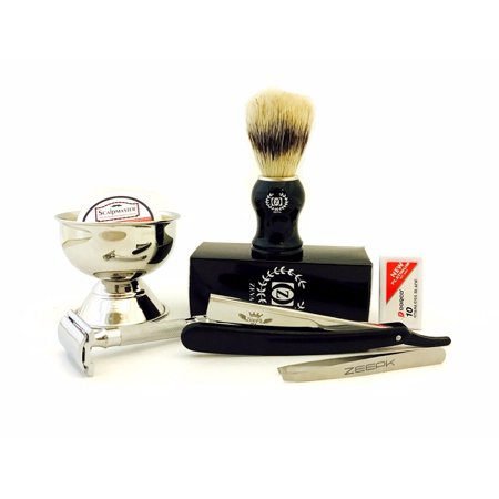 MEN'S BEST SHAVING GROOMING KIT/SET- DE Safety Razor, Straight Razor, Brush,