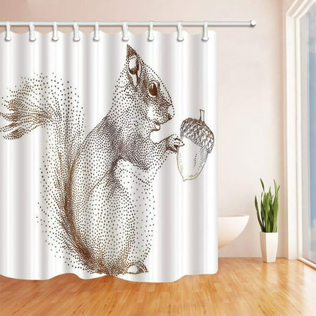 ARTJIA Abstract Painting Decor Creative Points Design Squirrel Eats Pines Cone Polyester Fabric Bathroom Shower Curtain 66x72 inches (Pine Cone Fabric Shower Curtain)
