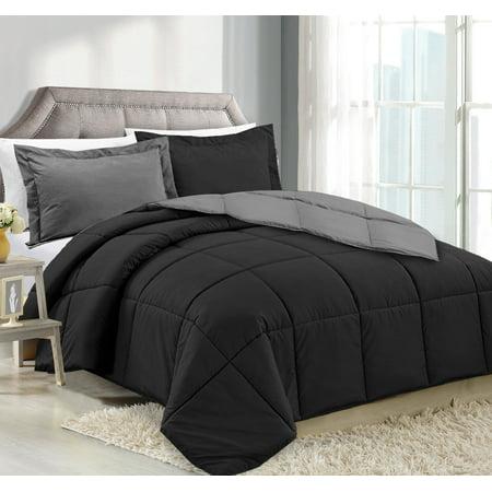 Clara Clark Luxury Down Alternative Reversible Comforter Set - Hypoallergenic, Box Stitched - Duvet Insert, Queen - Black/Gray Cotton Comforter Duvet Set