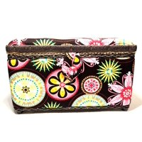 """Allary 11.5""""x7""""x6.4"""" Hand Crafted Sewing Basket Floral Fireworks, Brown"""