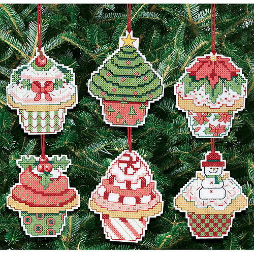 "Christmas Cupcake Ornaments Counted Cross Stitch Kit, 3"" x 3"", 14-count Set Of 6"