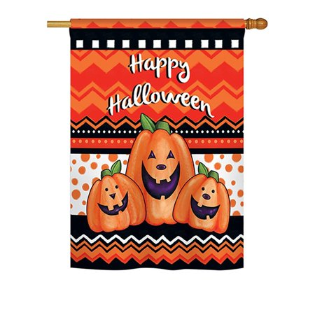 Halloween Trio Large Flag 28 inches by 40 inches, Size: 28 inches by 40 inches / *Pole Not Included By Breeze Decor Ship from US - Halloween Trios