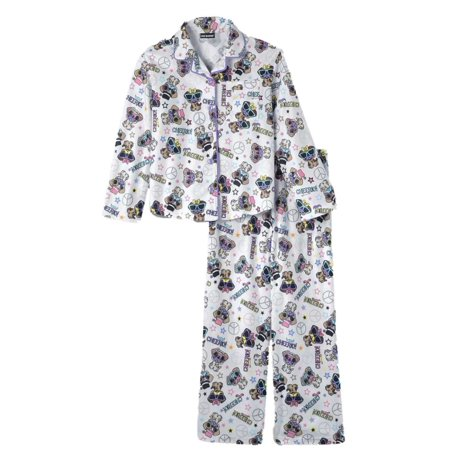 Joe Boxer Girls White Flannel Sleepwear Set Mustache Pug Pajamas Cheerio PJs XS
