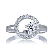Emitations Sterling Silver Round Cut Cubic Zirconia Ring