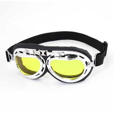 - Yellow Lens Full Frame Motorcycle Protective Goggles Glasses Black for Woman Man