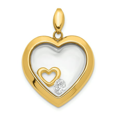 Glass Gold Foil Heart Pendant - 14K Yellow Gold Plated Cubic Zirconia 18mm Heart Glass Pendant
