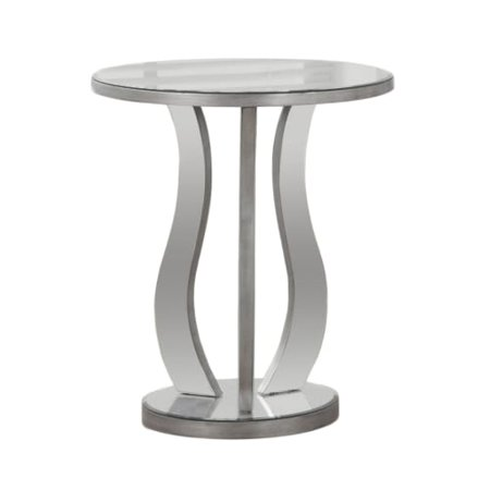 Monarch End Table 20 Dia Brushed Silver Mirror