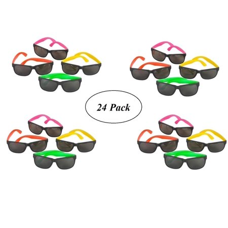 24 Pack 80's Style Neon Party Sunglasses - Fun Gift, Party Favors, Party Toys, Goody Bag Favors (80s Party Decor)