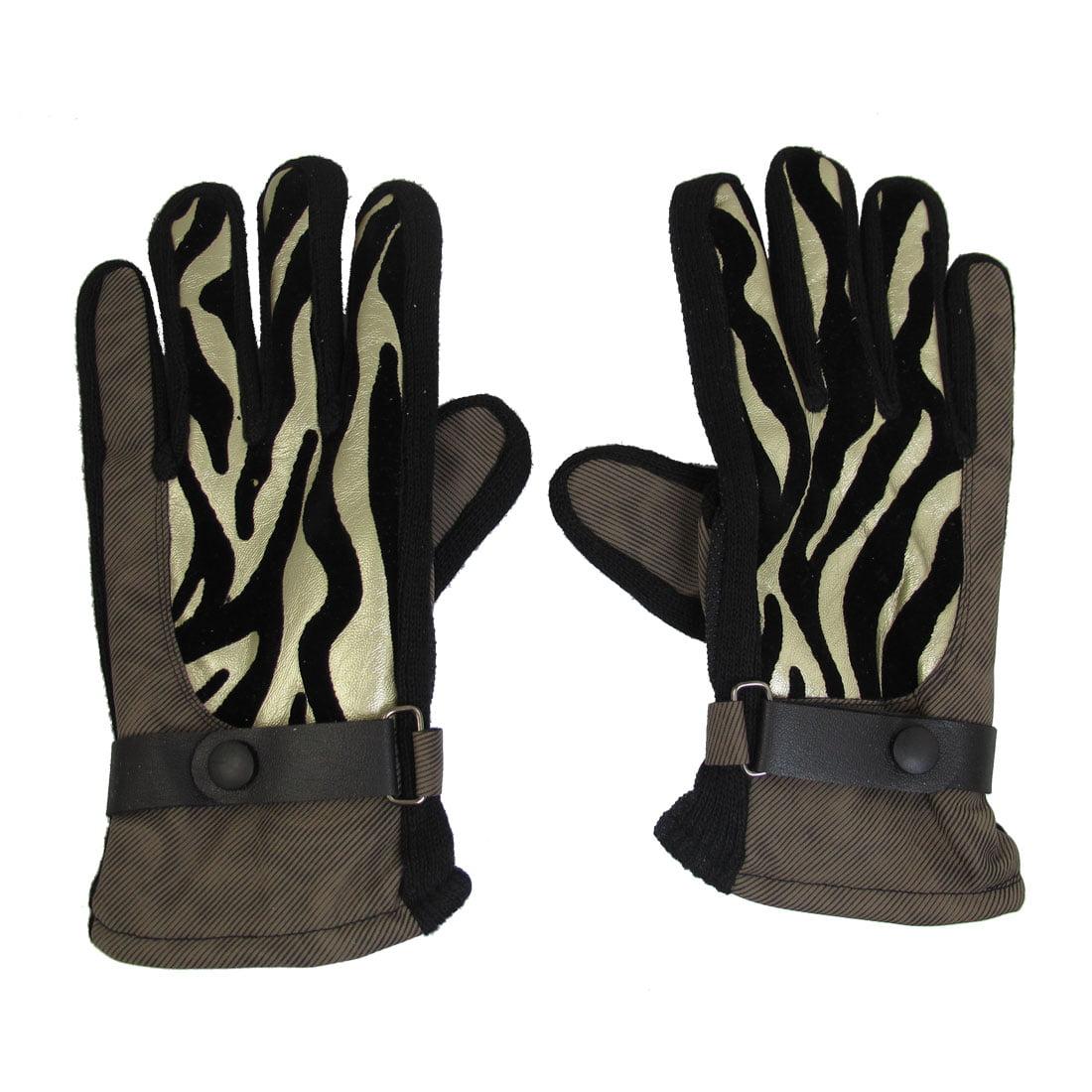 Unique Bargains Unique Bargains Man Winter Nylon Fleece Climbing Golden Tone Coffee Color Full Finger Gloves by Unique-Bargains