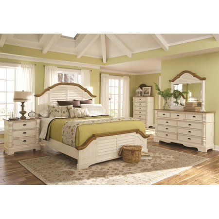 Classic Country Cottage Style Buttermilk Finish Arched Shutter HB Queen Size Bed w Matching Dresser Mirror Nightstand 4pc Set