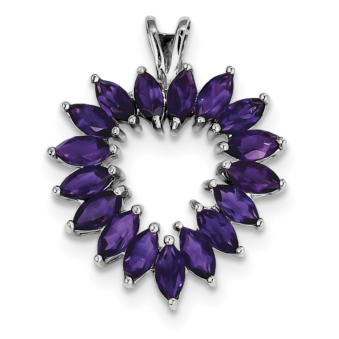 Sterling Silver Rhodium Marquise Amethyst Heart Pendant. Gem Wt- 1.46ct by Jewelrypot