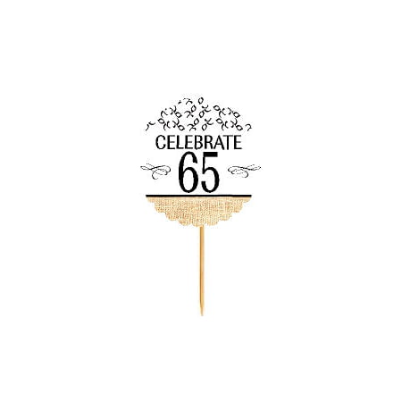 Anniversary Cupcake - 65th Birthday / Anniversary Novelty Burlap Cupcake Decoration Picks -12pack