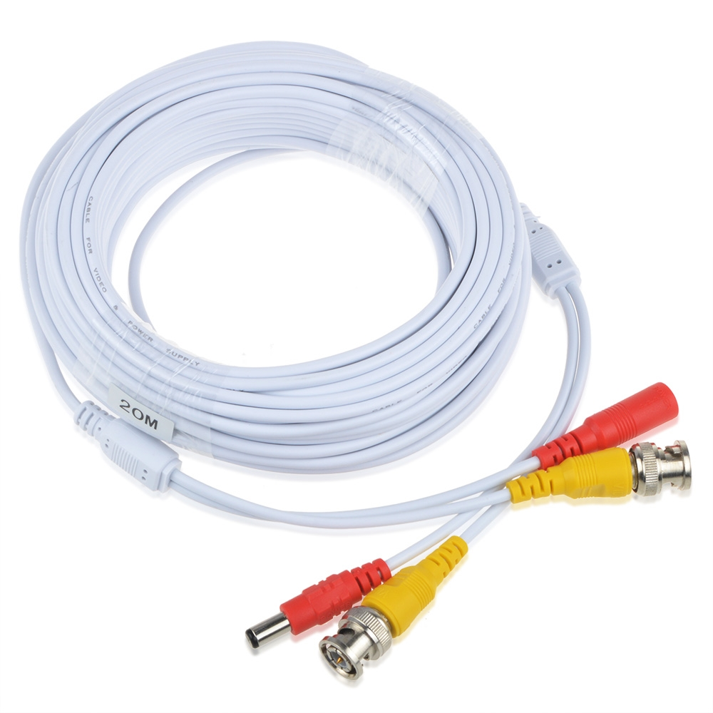 ABLEGRID Pre-made All-in-One BNC Video and Power Cable Wire Cord with Connector for CCTV Security Camera White-65FT