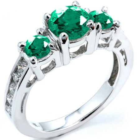 2.55 Carat (ctw) 14k White Gold Round Green Emerald & White Diamond Bridal Engagement Ring 2 1/2 CT - Glow In The Dark Engagement Ring