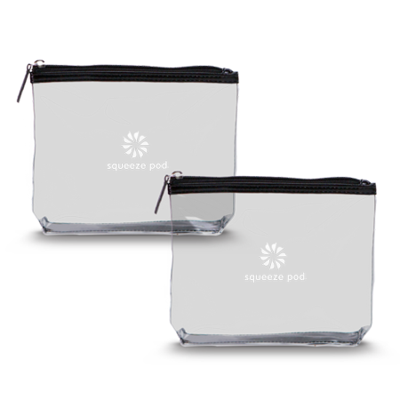 Squeeze Pod - 2 Clear Travel Toiletry Bags - TSA Approved