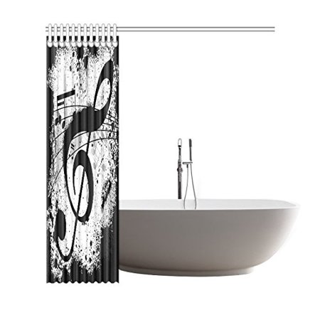 GCKG Black and White Shower Curtain, Musical Notes Polyester Fabric Shower Curtain Bathroom Sets 66x72 Inches - image 2 of 3