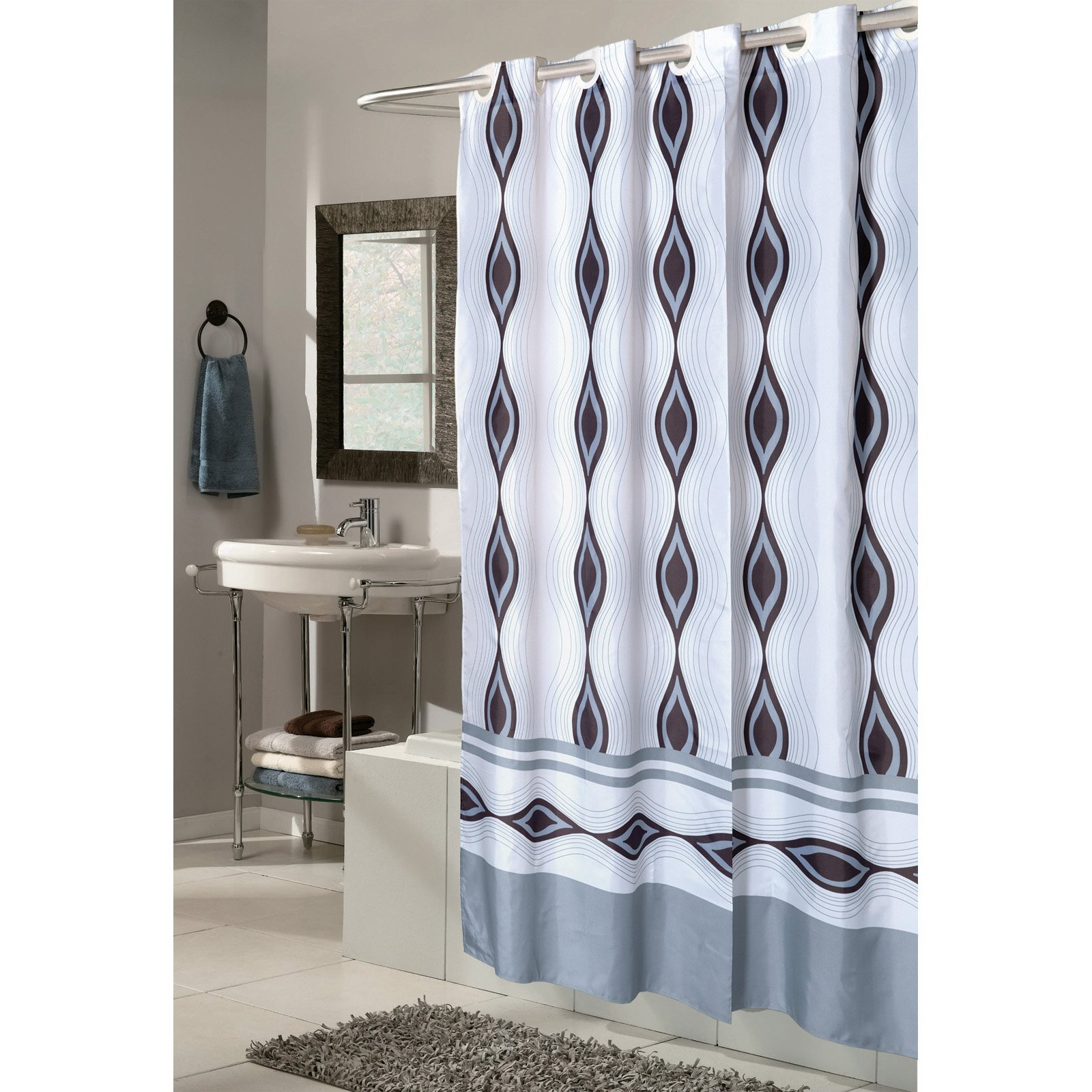"Extra Wide, EZ-ON® ""Harlequin"" Polyester Shower Curtain"