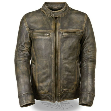 Milwaukee Mens Distressed Scooter Jacket w/Venting Dunlop Brown