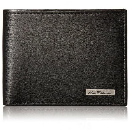 Ben Sherman Mens Brick Lane Genuine Leather Wallet Traveler ID Passcase Bifold Leather Businessmans Wallet