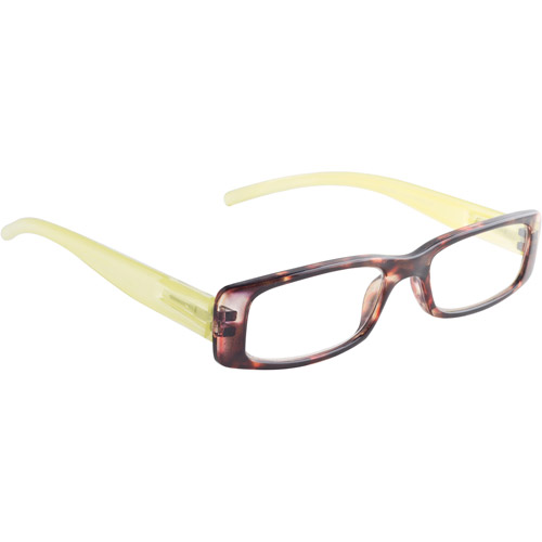 Wink by ICU 2.00 Fashion Reading Glasses, tortoise with lime temples